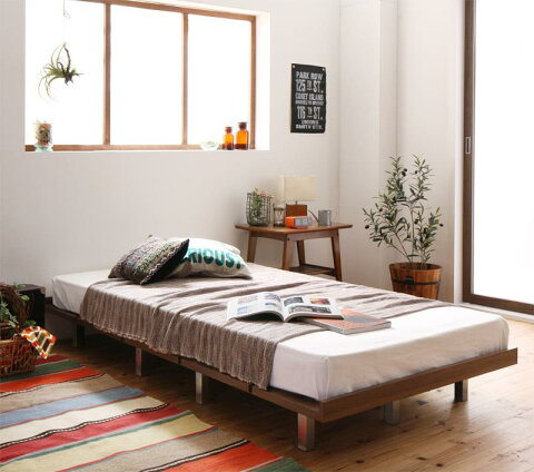 (送料無料) ローベッド フロアベッド 木製 ベッド ショート丈 デザインボードベッド キャタルパスチール脚タイプ(ショート丈フレーム:シングル)+(マットレス:シングル)マットレスの種類:スタンダードポケットコイルマットレス付き