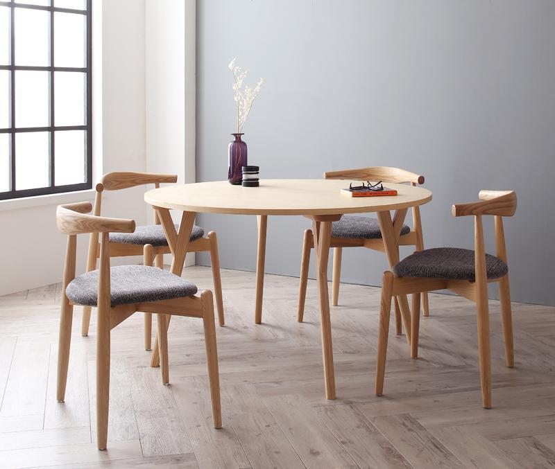 ダイニングセット 5点セット(丸テーブル+チェアA×4) ダイニングテーブル ダイニングチェア 北欧 モダンおしゃれ ラウンド型 デザイン 食卓テーブル 円形テーブル 丸型 木製 シンプル グレー アイボリー ファブリック 布張り コンパクト カントリー かわいい ナチュラル