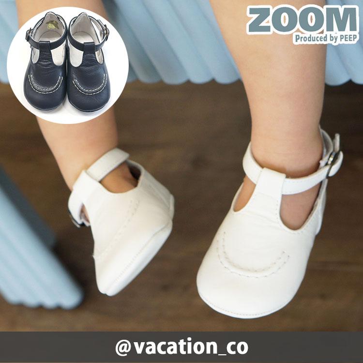 ZOOM (ズーム) 靴/ベビー Tストラップ ファーストシューズ フォーマル/おでかけ 女の子でも男の子でも履けるシンプルなデザイン 出産祝いなどのギフトにも peep