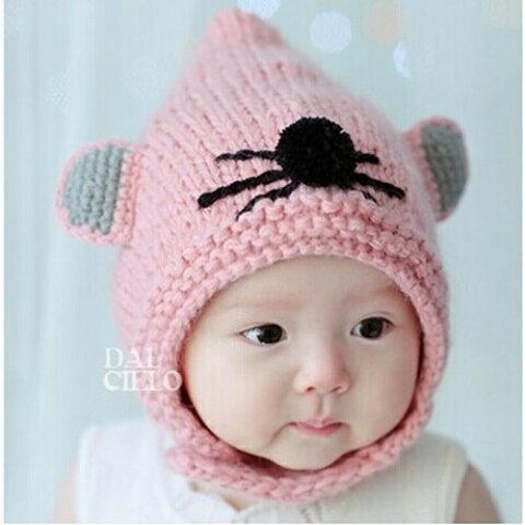 ベビー 赤ちゃん キッズ ジュニア 子供 男の子 女の子 帽子 ニット帽 防寒 耳あて ネズミ マウス 干支 年賀状