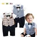 【在庫商品】ベビー 赤ちゃん 男の子 ロンパース カバーオール 半袖 ズボン風 チェック 千鳥柄 誕生日 パーティー