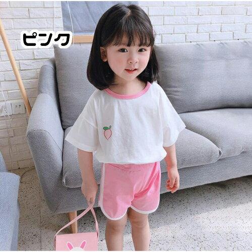 ベビー赤ちゃんキッズジュニア子供女の子セットアップ半袖Tシャツショートパンツシンプルカジュアルフルーツプリント運動着