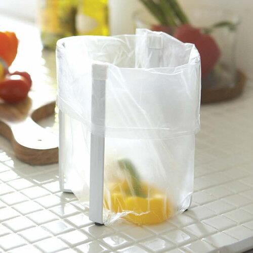 山崎実業 簡易ゴミ箱 タワー ポリ袋エコホルダー ホワイト 6787 | ごみ箱 キッチン 三角コーナー 生ゴミ入れ コップスタンド グラス シンク上 卓上 おしゃれ