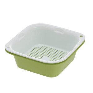 食材の水切り、小分けに便利!【リッチェル レイ】Lei つみ重ねザルバット L グリーン