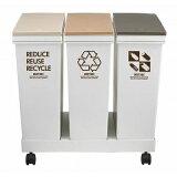 分別ゴミ箱 資源ゴミ 3分別ワゴン 横型 ベージュ