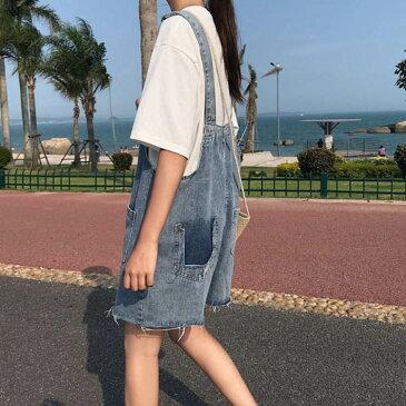 デニムパンツ サロペット オールインワン レディース ポケット付き ゆったり 大人可愛い ショートパンツ お洒落 切りっぱなし 夏服