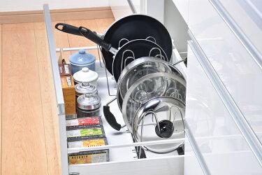 【送料無料】beworthstyle(ビーワーススタイル)DK-12/伸縮式鍋・フライパンラック【キッチン収納伸縮式フライパンラック鍋フタフライパンすき間収納収納キッチン便利アイディアステンレス】