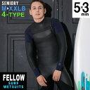 メンズ ウェットスーツ セミドライ ノンジップ セミドライスーツ FELLOW 5×3mm スキン ラバー SEMIDRY 冬用 サーフィン 保温 起毛 超撥水加工 ストレッチ ウエットスーツ ダイビング JPSA 日本規格 大きいサイズ・・・