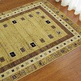 ギャベ ギャッベ テイスト ラグ エスニックな雰囲気! 本格!ウィルトン織りカーペット じゅうたん 200×250cm 3畳 ブラウン キャメル 絨毯 ギャッベラグ 送料無料 シンプル・ギャベ ラグ