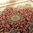 高級クラスの 絨毯 6畳 用 カーペット 240×340 レッド ペルシャ絨毯 柄 高密度75万ノット! 長方形 ウィルトン織り ラグ 送料無料 じゅうたん ホットカーペットカバー