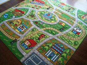 子供部屋ラグに!キッズラグ道路・線路のデザイン!『ロード・マップ』ラグ・カーペット190x190(2帖)・正方形激安通販【NS02送料無料】ファニーシティーで!ホットカーペットカバーOK