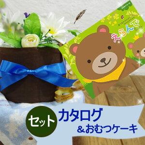 出産祝い専用カタログとおむつケーキのセット