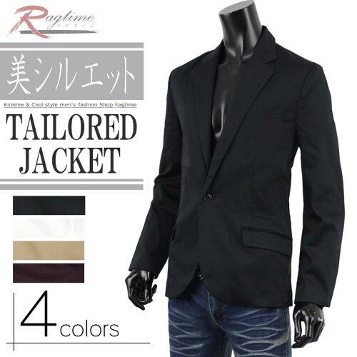 テーラードジャケット メンズ テーラード ジャケット 黒 白 FT-O137008