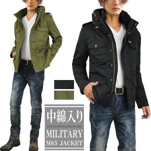 ミリタリージャケット メンズ ミリタリー ジャケット M65 中綿 ボリュームネック S260919-01