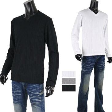 長袖カットソー メンズ Vネック リブ カスケード ストライプ テレコ ロンT ベースシャツ D300220-08
