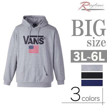 BIG 大きいサイズ パーカー プルオーバー メンズ 長袖 ロゴプリント 裏起毛 スウェット C291127-14