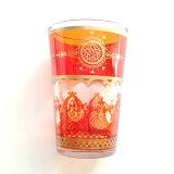 モロッコミントティーグラス◆スターオレンジ耐熱グラス/チャイ/ハーブティー/アラベスク/モロッコ雑貨食器おしゃれギフトプレゼント