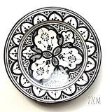モロッコディッシュブラック22cm皿陶器モロッコ雑貨食器器うつわかわいいお洒落モダンフェズbohodishfes