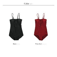 水着レディースワンピース体型カバー編み上げパットあり2019新作ミセスママ水着大人女性小胸20代30代40代ブラック/ワインレッドM-XL