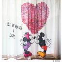 レースカーテン ディズニー ミッキー&ミニー ハート柄 UVカット見えにくい【幅100×丈108,133,148,176,183,198cm】 カーテン かわいい レースカーテン