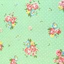 ■ファブリック110×50cm〜■40564-60 Flower Sugar ローズ小 グリーン■カルトナージュの材料に♪