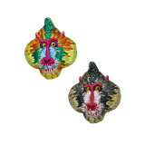 [刺繍ブローチ]ぬいぐるみ動物マンドリルMade in japan刺繍、ブローチ、全面刺繍、動物、アニマル、軽い、カラフル、ナチュラル