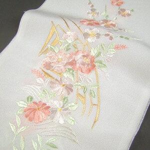 자수 반 칼라 반 칼라 화이트 / 겐지 자동차 웨딩 성인용 포멀 기모노 하 카마 화이트 핑크 컬러 플라워 패턴