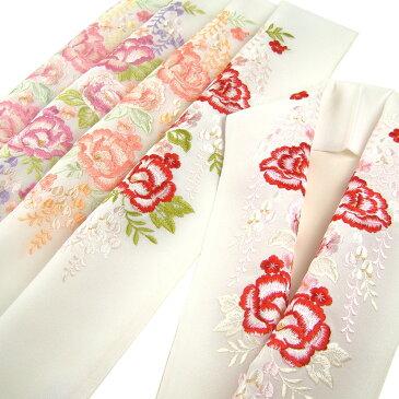 刺繍半衿(半襟) 藤の花に牡丹桜 結婚式 成人式 フォーマル 振袖用 袴 はかま