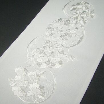 刺繍半衿(半襟)・白/白 花丸文 結婚式 成人式 フォーマル 留袖用 黒留袖 色留袖 白