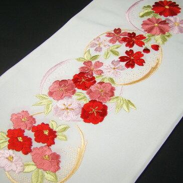 刺繍半衿(半襟)・白/色 花丸文・赤 結婚式 成人式 フォーマル 振袖用 袴 はかま 赤