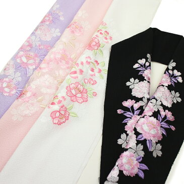 ちりめんジャガード 刺繍半衿(半襟) 八重桜 結婚式 成人式 フォーマル 振袖用 袴 はかま