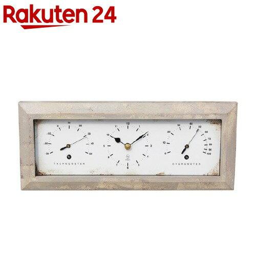 温湿度計付き Antique Clock 置き掛け兼用 ヨコ ホワイト YT-900(1台)