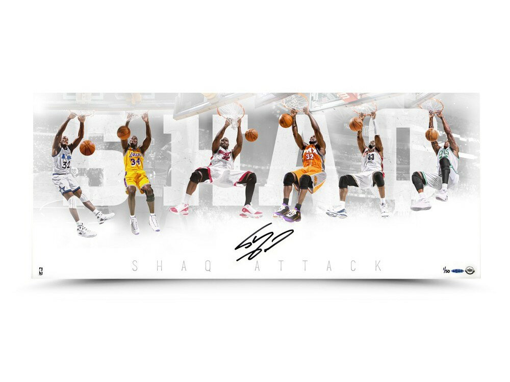 コレクション, サイングッズ  3615 SHAQ ATTACK NBA SHAQUILLE ONEAL AUTOGRAPHED SHAQ ATTACK 36 X 15 PHOTO Los Angeles Lakers Upper Deck NBA