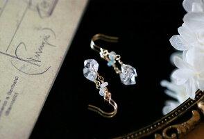 RALULU.SHUハンドメイド14kgfゴールドフィルドハーキマーダイヤモンド&オパールのピアス4月誕生石イヤリングに変更可