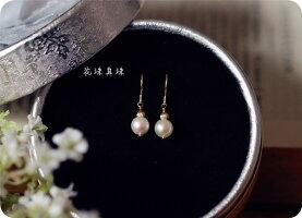 RALULU.SHU最高品質花珠AKOYA真珠のピアス/イヤリング可6月誕生石14KGFゴールドフィルド
