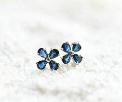 【RLL.S】ハンドメイド925SV宝石質ファセットカットブルーサファイアクローバー一粒ピアススタッドピアス