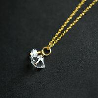 ハーキマーダイヤモンドの双子ちゃんネックレス4月の誕生石オリジナル極上氷雪水晶クォーツハンドメイド14kgfパワーストーン