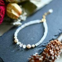 才能の種を咲かせるハーキマーダイヤモンドと愛を深めるムーンストーンのブレスレット14KGF天然石パワーストーンハンドメイドオーダー可RALULU.SHU