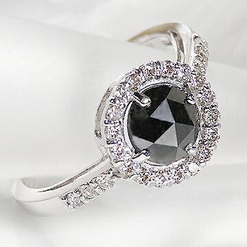 ファッション・ジュエリー・アクセサリー・レディース・指輪・リング・ダイヤモンド・ダイヤ・K18WG・4月・誕生石・K18WGブラックダイヤモンド0.75ct&ダイヤモンド0.25ctリング・AAAクラス・ブラックダイヤリング:ジュエリーワールド ラマジェムス