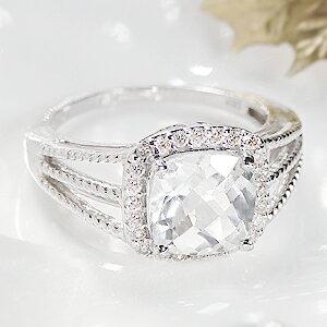 【K18WG】天然ホワイトトパーズ1.98ct&ダイヤモンドリング
