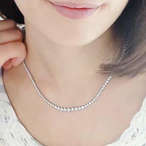 【K18WG】天然ダイヤモンドネックレス3.00ct