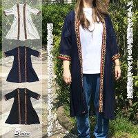 パイピング刺繍がエスニック透け感が涼しげなシフォンロングカーディガンさらりと羽織れるプラスワンアイテムロング丈で気になるウエスト・ヒップ・太ももをカバーアジアンエスニック羽織
