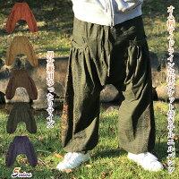 ユニセックスなゆったりサイズオム柄サイドラインプリント立体ポケット付きサルエルパンツ男女兼用モンキーパンツアジアンメンズレディースエスニック