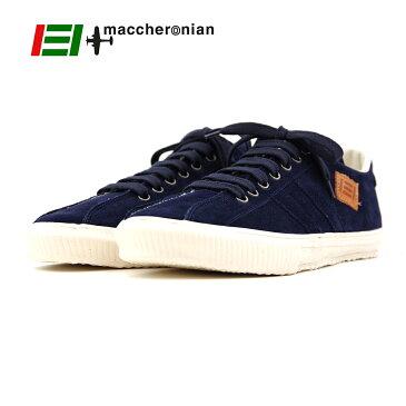 ポイント10倍【MACCHERONIAN マカロニアン】ローカットレザースニーカー (2215S) ダークネイビー スエード 正規品 ハンドメイドスニーカー メンズシューズ 靴 紳士靴