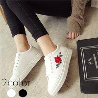 スニーカーレディースシューズバラ刺繍厚底ローカット紐カジュアル花柄靴春夏白黒