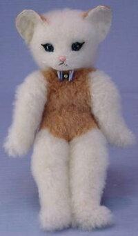 抱きネコファークラフト社製ぬいぐるみネコギフト毛皮ラムハンドメードクリスマスギフトプレゼント品