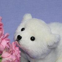 座り型白クマファークラフト社製ぬいぐるみイヌネコクマテディベアギフト毛皮フォックスセーブル清水拓司