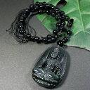 【一點物】レインボーオブシディアン 不動明王 彫刻 ネックレス 長さ調整可能|黒曜石|チベット密教|天然石|手彫り|カービング【送料無料】