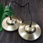 【スペシャル品質】チベット密教 ティンシャ(チベタンシンバル) 無地 7メタル 直径:78mm (革紐:ブラック)|セブンメタル|チベットシンバル|チベット密教|楽器|瞑想|手作り【送料無料】