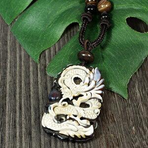 チベット密教龍(ドラゴン)彫刻天珠中国紐ネックレス長さ調整可能